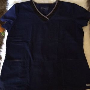 Grey's Anatomy Ladies Navy Scrub Top